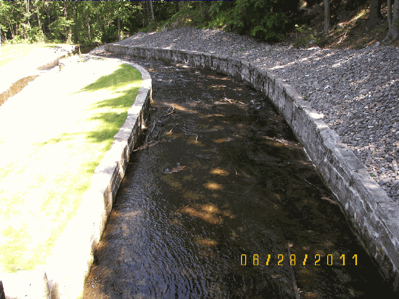 Brick Walls Line Either Side of the Stream