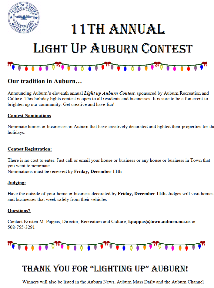 Light Up Auburn 2020 Flyer