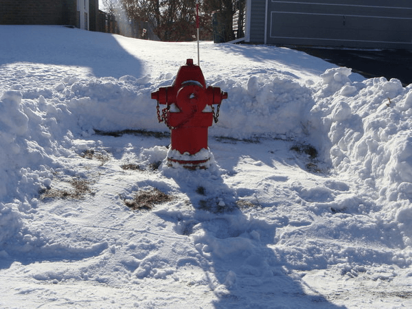Fire hydrant with snow cleared around it